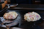 At Restaurant in Tokyo cooking chicken pancakes