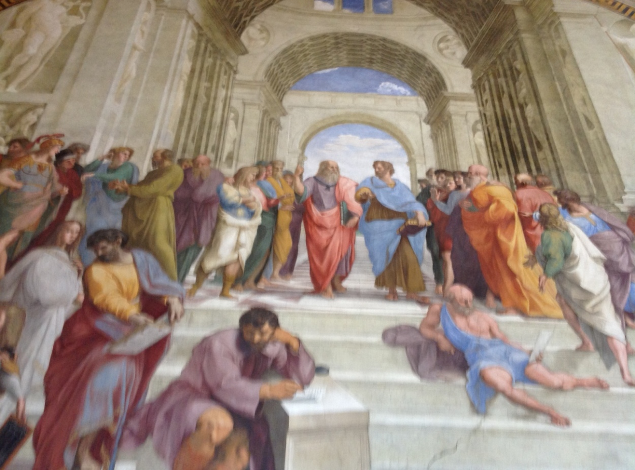 The School of Athens: Plato, Aristotle, Socrates, Pythagoras and others debate civily