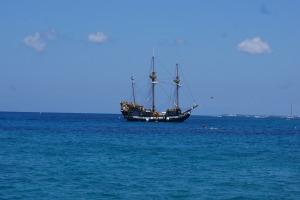 A boat at sea