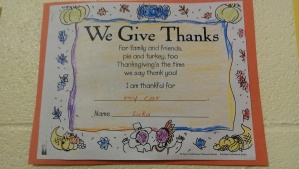 Its nice to know my son is thankful for his car. Oh, little boys.