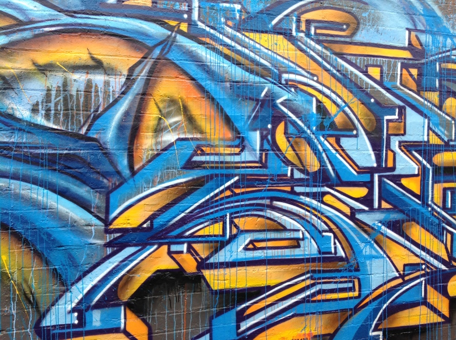 blue street art in australia