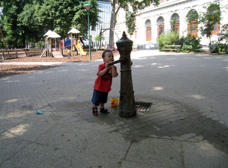Luka playing in a Vienna playground with an item that could maybe pass for a giant kettle..maybe.