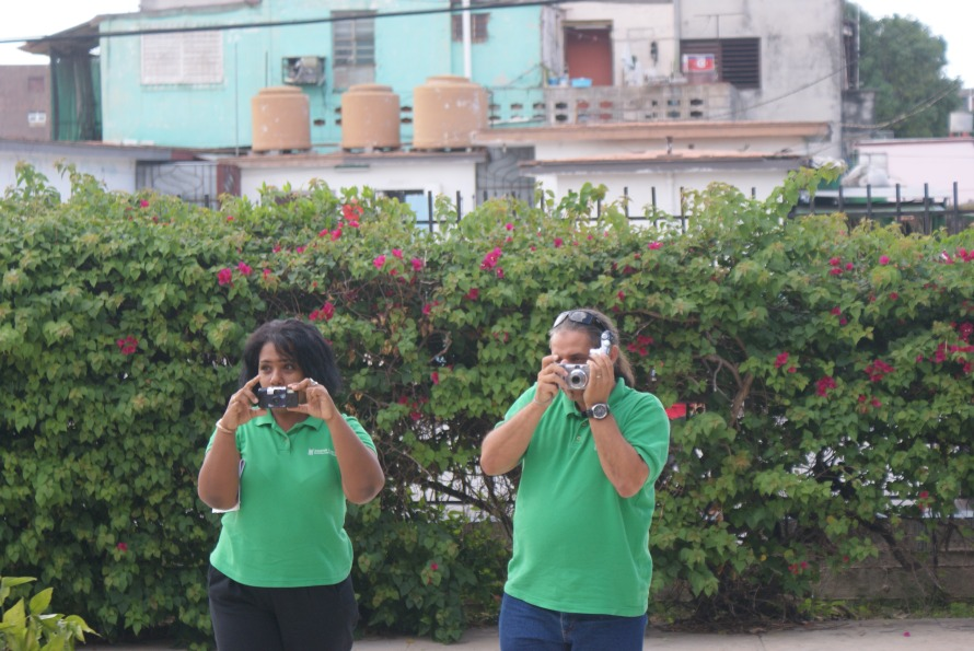 Tour guides taking photos