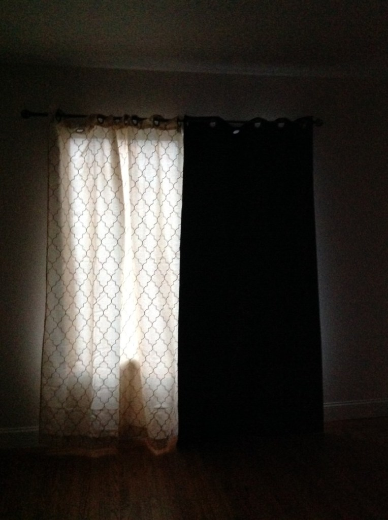 Spooky mismatched curtains